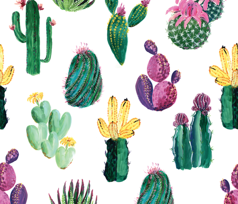 Colorful cacti and succulents fabric by blursbyai on Spoonflower - custom fabric