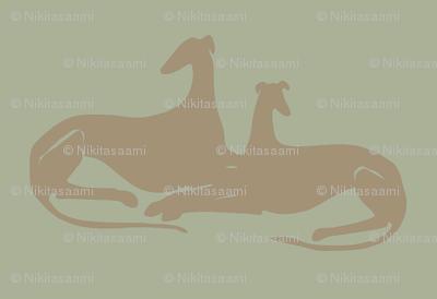 greyhounds, grey, green, brown