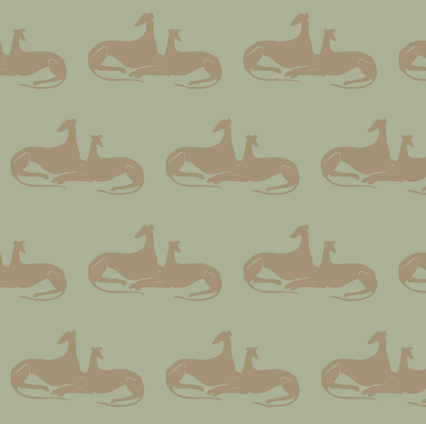 greyhounds, grey, green, brown fabric by nikitasaami on Spoonflower - custom fabric