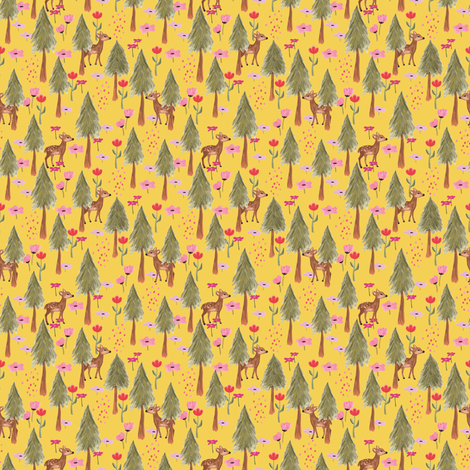 Deers in the forest yellow - tiny scale fabric by thislittlestreet on Spoonflower - custom fabric