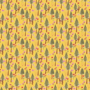 Deers in the forest yellow - tiny scale