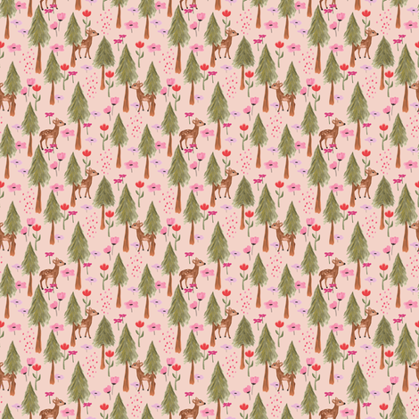Deers in the forest pink - tiny scale fabric by thislittlestreet on Spoonflower - custom fabric