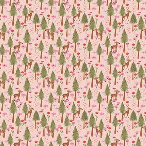 Deers in the forest pink - tiny scale