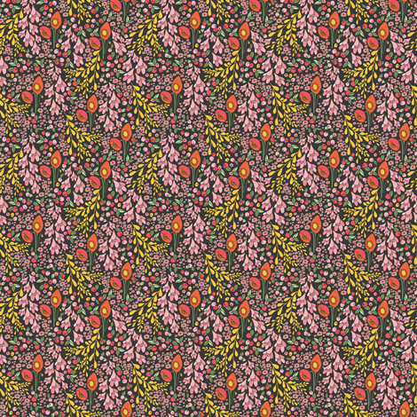 california blooms black - tiny scale fabric by thislittlestreet on Spoonflower - custom fabric