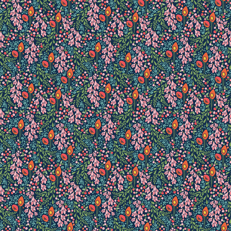 california blooms in teal - tiny scale fabric by thislittlestreet on Spoonflower - custom fabric