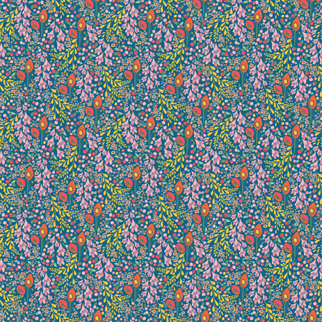 california blooms in blue - tiny scale fabric by thislittlestreet on Spoonflower - custom fabric