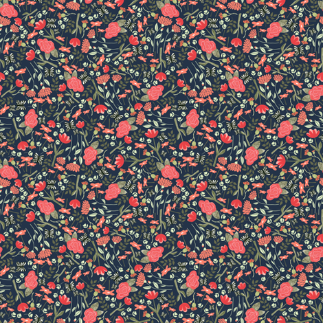Butterfly garden in navy - tiny scale fabric by thislittlestreet on Spoonflower - custom fabric