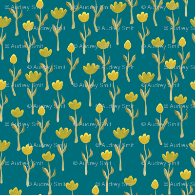 Up north floral flowers in dark teal - tiny scale