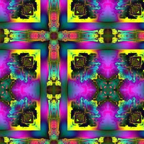 CROSS ANGLED NEON TILES YELLOW FUCHSIA COLORS EXPLOSION
