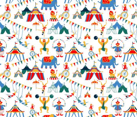 Retro Circus Scene fabric by happyhappymeowmeow on Spoonflower - custom fabric