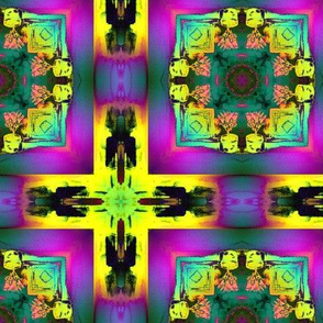 YELLOW CROSS AND AQUA TILES NEON COLORS EXPLOSION