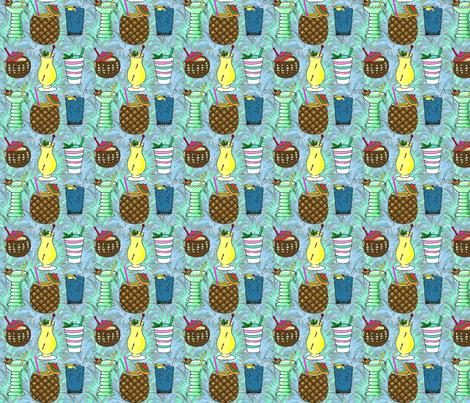 tiki_drinks_aqua_4x4 fabric by leroyj on Spoonflower - custom fabric