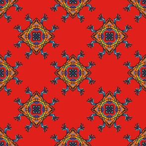 FROG AZTEC TRIBAL STYLE DAMASK DIAMOND RED