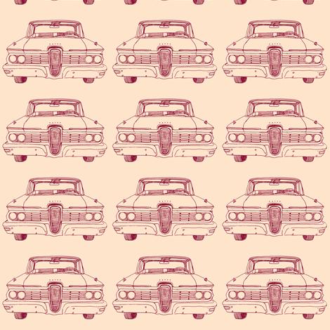 Nifty Fifties 1959 Edsel Ranger or Corsair dark red on peach fabric by edsel2084 on Spoonflower - custom fabric