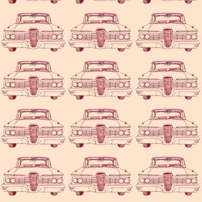 Nifty Fifties 1959 Edsel Ranger or Corsair dark red on peach