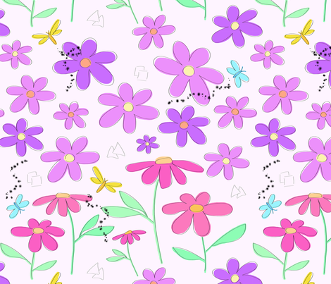 Sketched_Flowers fabric by boissindesign on Spoonflower - custom fabric