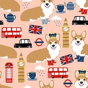 corgi london uk queen dog fabric
