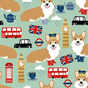 corgis in london fabric uk big ben british fabric