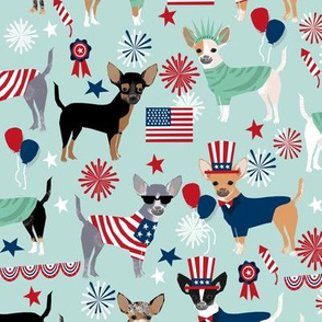 chihuahua patriotic july 4th america fabric