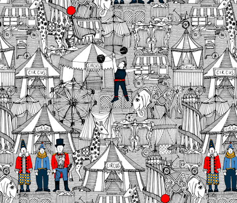 retro circus bw col fabric by scrummy on Spoonflower - custom fabric