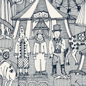 retro circus indigo ivory