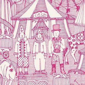 retro circus pink ivory