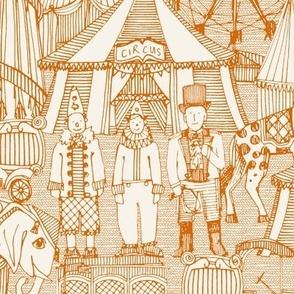 retro circus orange ivory
