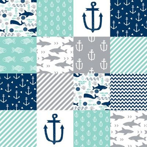 "2"" quilt squares nautical anchor"
