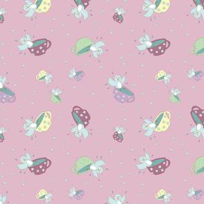 Bathing Bluebird - Pink