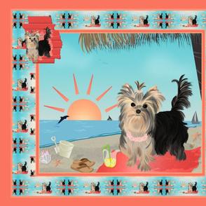 Yorkie - Brandy Seashore Pillow panel