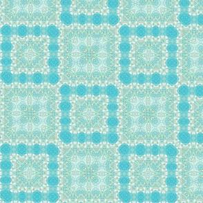 Garden Maze - multi green and blue fabric