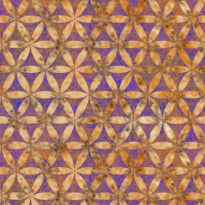 Batik Inspired Interlocked Circles in Gold and Purple