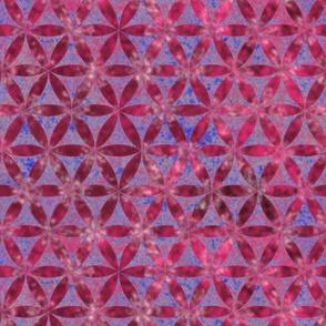 Batik Inspired Interlocked Circles in Pink and Blue