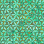 Batik Inspired Interlocked Circles in Green and Yellow