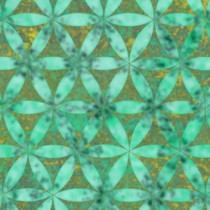 Batik Inspired Interlocked Circles in Green and Yellow
