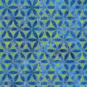 Batik Inspired Interlocked Circles in Blue and Green