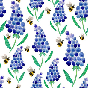 Muscari & Bees Watercolour Pattern