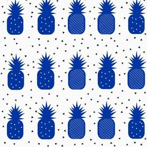 Pineapples - cobalt blue and white geometric pineapples tropical fruit