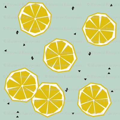 Lemons on dusty mint