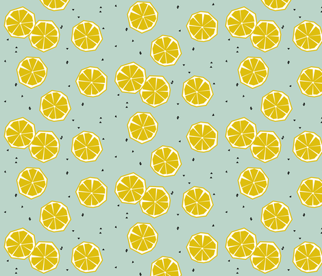 Lemons on dusty mint fabric by sunny_afternoon on Spoonflower - custom fabric