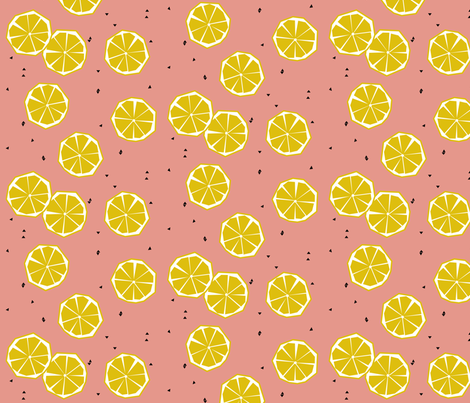 Geometric lemons on coral - summer fruit citrus  fabric by sunny_afternoon on Spoonflower - custom fabric