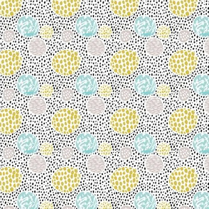 Cool dots and freckles circle abstract memphis style dots in pastel gender neutral XXS
