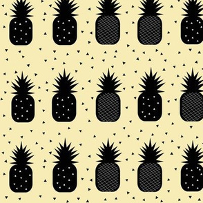Geometric pineapples - black on pale yellow tropical fruit summer