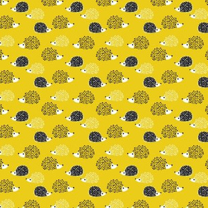 Scandinavian sweet hedgehog illustration for kids gender neutral spring black and white yellow XXS