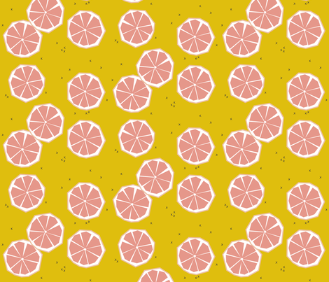 Pink grapefruit slices - tropical summer fruit citrus fabric by sunny_afternoon on Spoonflower - custom fabric