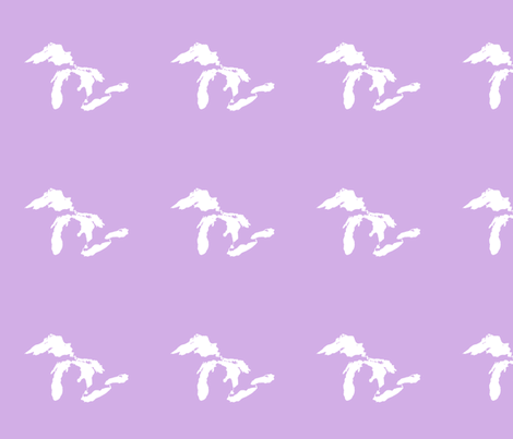 """Great Lakes silhouette - 6"""" white on lilac fabric by weavingmajor on Spoonflower - custom fabric"""
