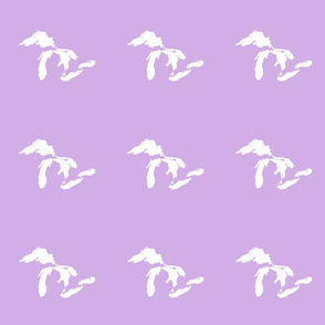 """Great Lakes silhouette - 6"""" white on lilac"""