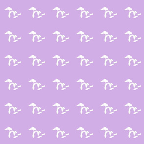 "mini Great Lakes silhouette - 3"" white on lilac"