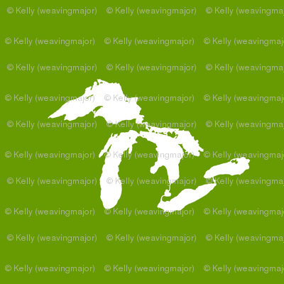 """Great Lakes silhouette - 18"""" white on new leaf green"""