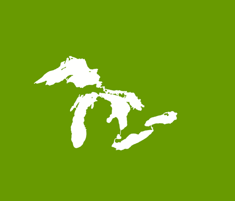 """Great Lakes silhouette - 18"""" white on new leaf green fabric by weavingmajor on Spoonflower - custom fabric"""